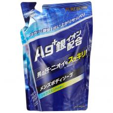 """""""Mitsuei"""" """"Pure Body"""" Дезодорирующий мужской гель для душа с микрочастицами серебра с ароматом цитруса и мяты (мягкая экономичная упаковка), 400мл,"""