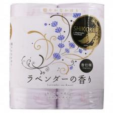 SHIKOKU Lavender-no-Kaori Бумага туалетная парфюмированная 4 рулона 2-х слойная