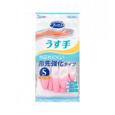 """Виниловые перчатки """"Family"""" (тонкие, без внутреннего покрытия, с уплотнением на кончиках пальцев) бело-розовые РАЗМЕР S, 1пара"""