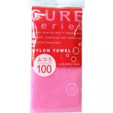 """OHE"" ""CURE series"" Мочалка для тела средней жесткости, 100 см. (розовая),"