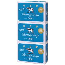 COW Молочное освежающее туалетное мыло с прохладным ароматом жасмина «Beauty Soap» синяя упаковка (кусок 130 г) × 3 шт
