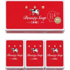 COW Молочное увлажняющее мыло с пудровым ар. роз «Beauty Soap» красная упаковка 3шт*100гр