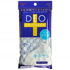 """AISEN Мочалка для тела с хитозаном """"Deo Chitosan"""", жесткая, голубая, 28 х 100 см"""