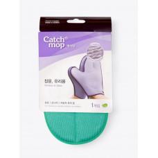 Двусторонняя перчатка-варежка для уборки CATCHMOP 23х21см зелёный