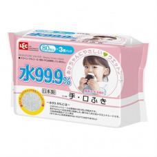 LEC Детские влажные салфетки для лица и рук розовая пачка 80шт