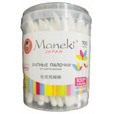 """Maneki Палочки ватные косметич. """"Maneki"""" Lovely, с белым пластик. стиком, в пластик. стакане, 100 шт"""