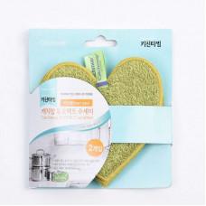2911-3040/1 Чистящая губка-скрабер для посуды и кухни CATCHMOP (мягкий эффект) 12х12 см, сердце, оливковый 1 шт